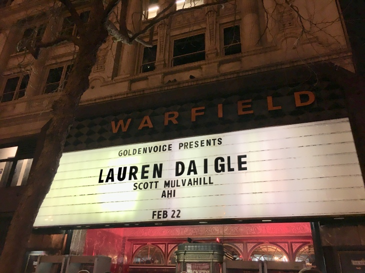The Warfield Theatre marquee sign for Lauren Daigle concert on February 22