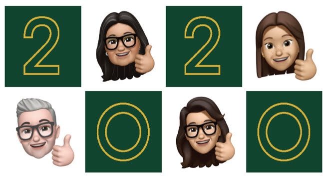 smiling family in Memoji with thumbs up