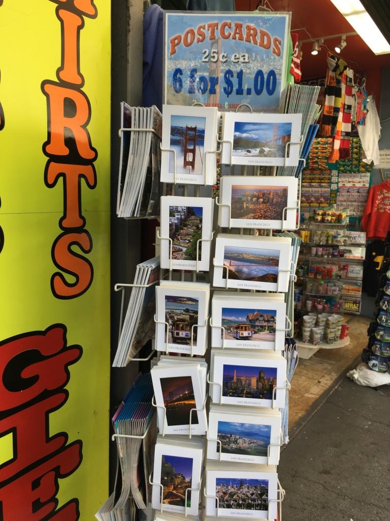 Rack of San Francisco postcards at souvenir shop in Chinatown
