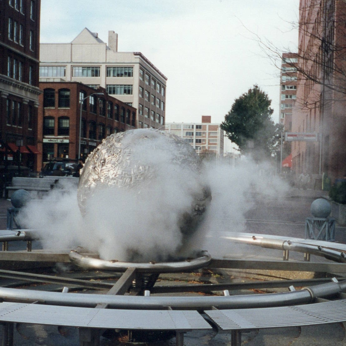 steam coming out of sphere sculpture